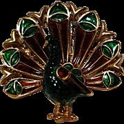 Trifari peacock pin blue green enamel