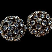 Schoffel Austria blue rhinestone clip earrings