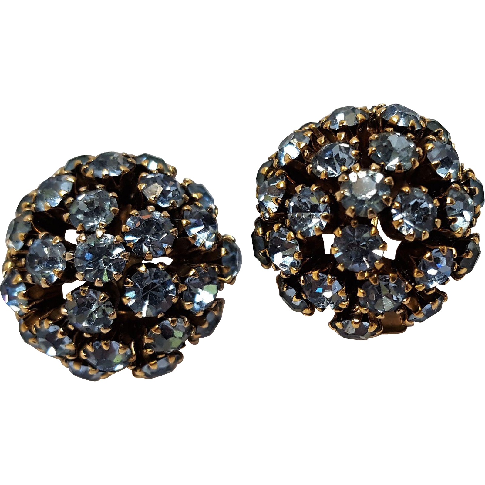 Schoffel Austria blue rhinestone clip earrings