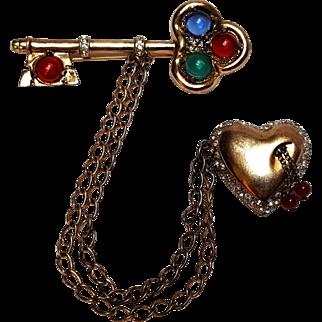 Coro Craft sterling key bleeding heart chatelaine pin glass cabochon