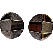 Trifari Mod clip earrings brushed silver tone
