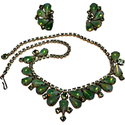 Green givre glass rhinestone necklace earrings set
