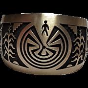 Hyson Craig sterling silver overlay cuff bracelet man maze Native American