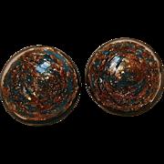 Venetian glass clip earrings blue aventurine
