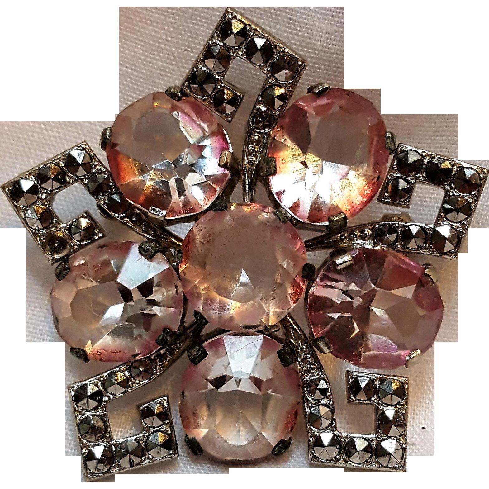 Czechoslovakia pin ruby flash marcasite