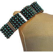 Zuni snake eye turquoise silver  cuff bracelet Haloo