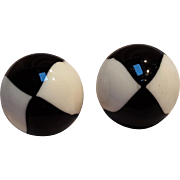 Trifari Mod clip earrings black white lucite dome