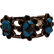 Native American turquoise three flower cuff bracelet
