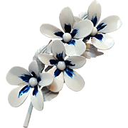 Weiss flower pin white blue enamel