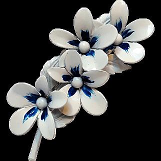 Weiss flower pin white blue enamel