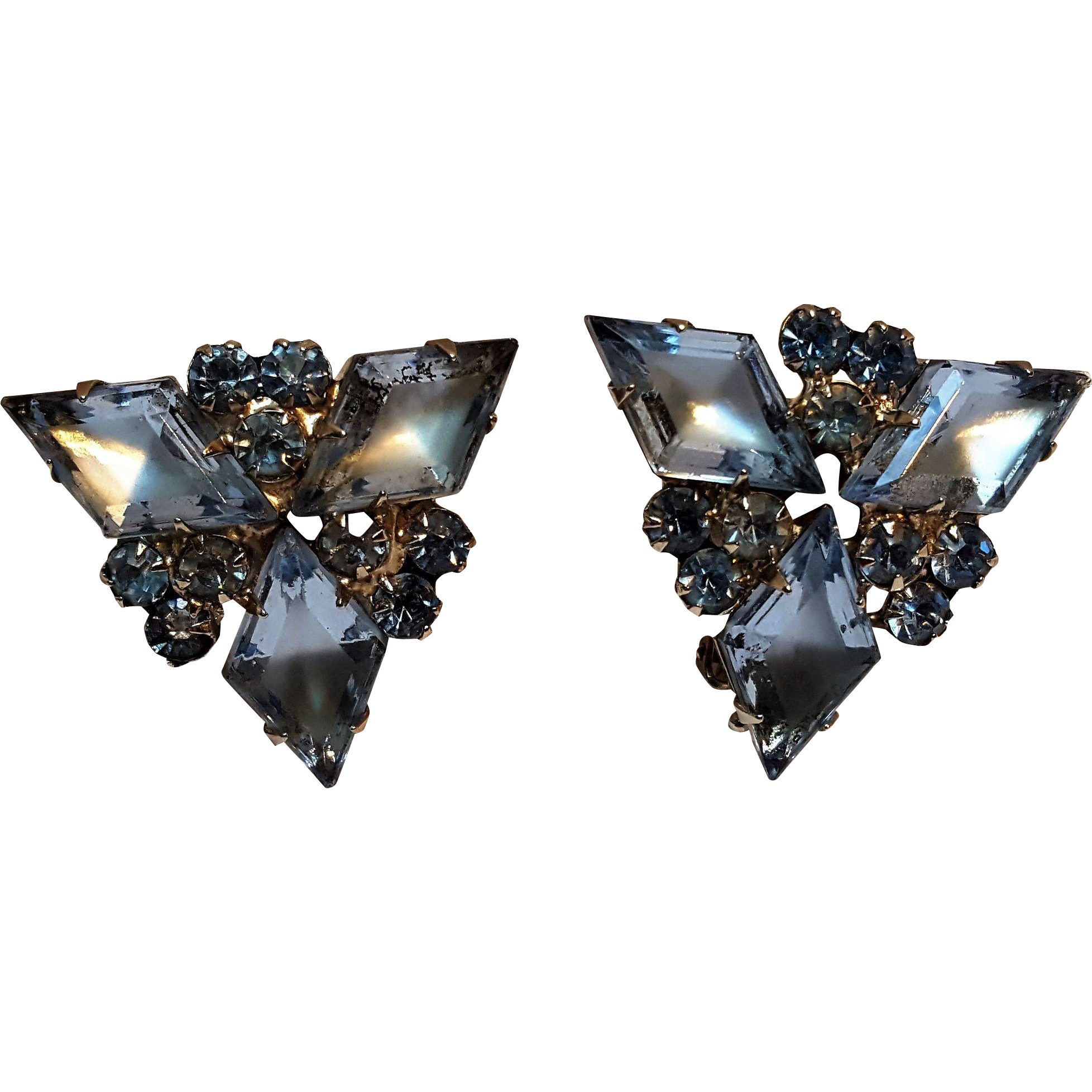 Blue rhinestone clip earrings