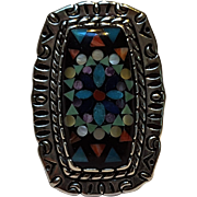 Relios Carolyn Pollack sterling silver ring stone inlay Southwest