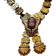 Victorian gold filled book chain cameo necklace
