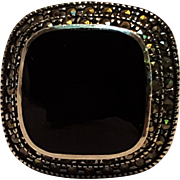 Judith Jack sterling silver marcasite onyx ring