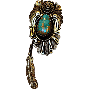 R Begay sterling turquoise pin pendant feather drop