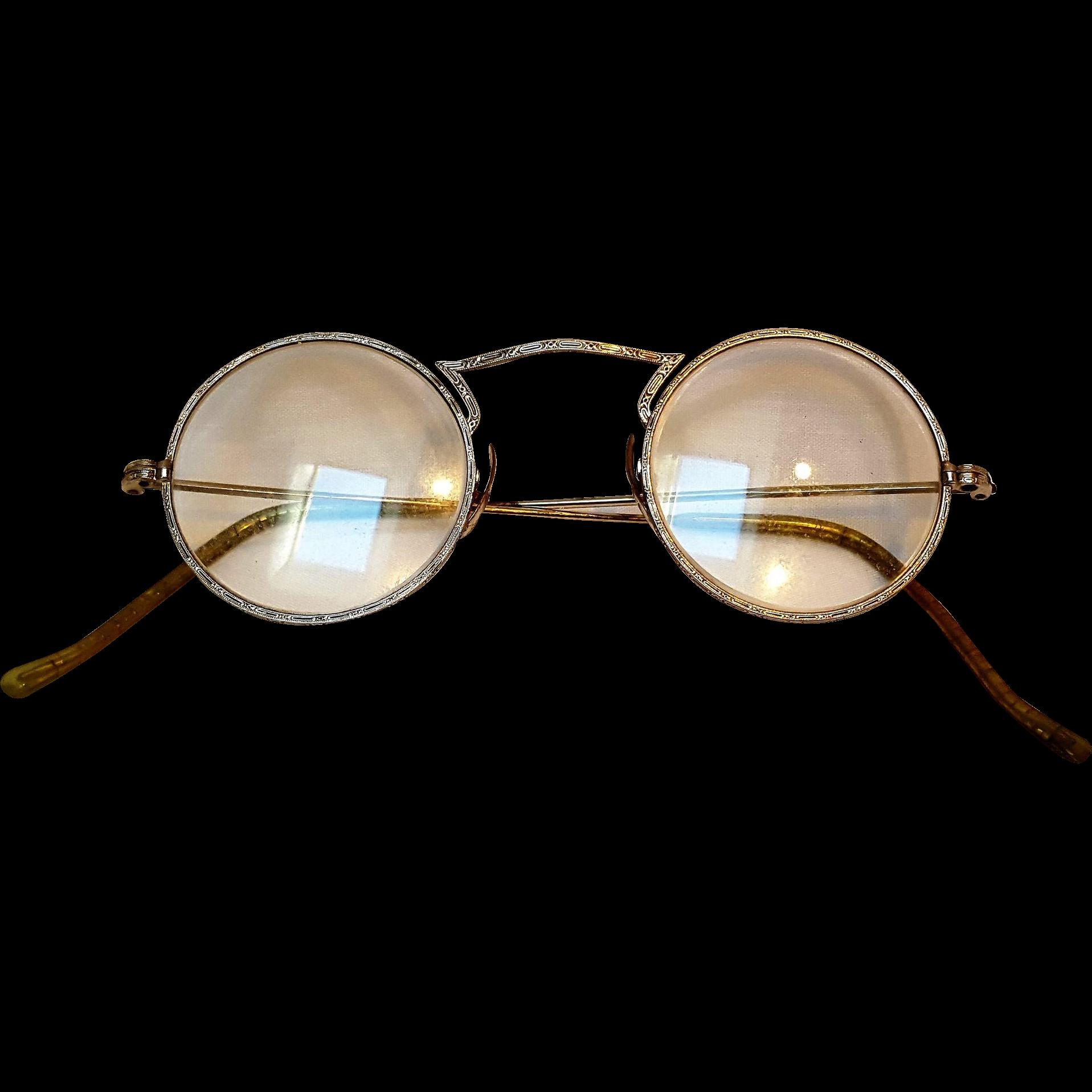 10k Gold Eyeglass Frames : Embossed eye glasses 10K white gold pads from green ...