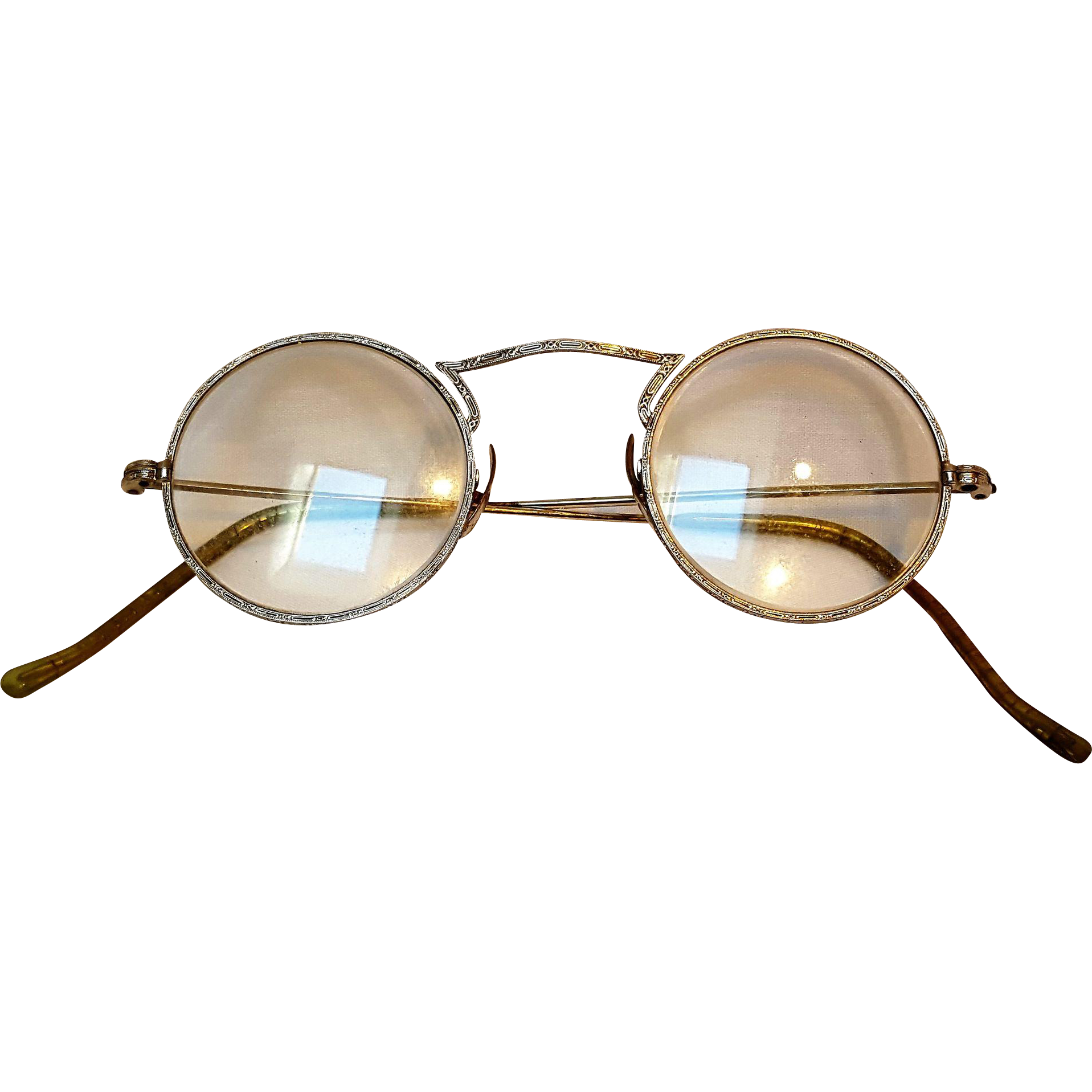 Embossed eye glasses 10K white gold pads