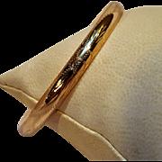 14K Gold bangle bracelet hinged hollow etched