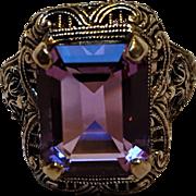 Silver filigree ring purple stone