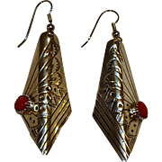 Southwest sterling silver coral drop earrings
