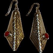 Southwest sterling silver coral drop earrings