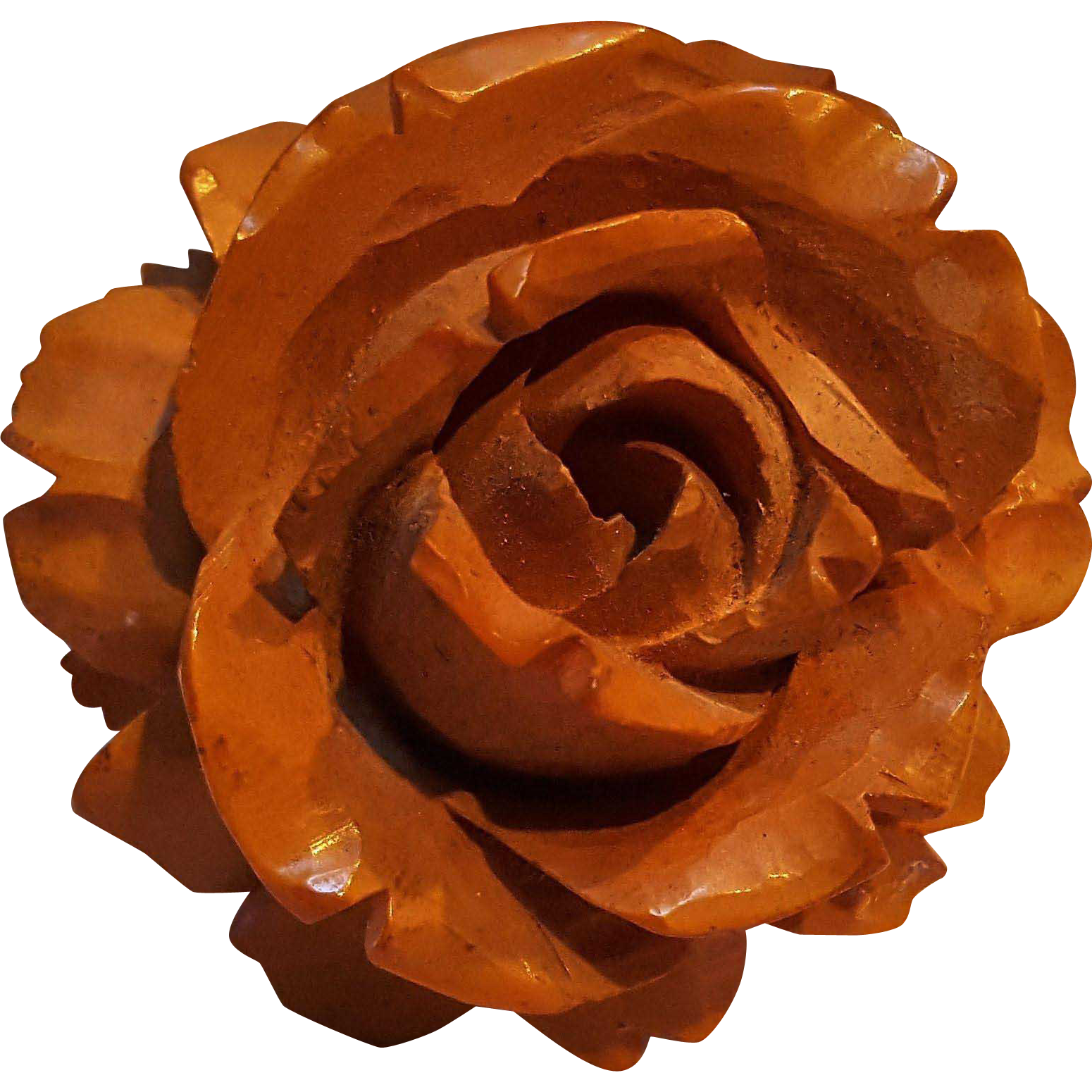 Carved butterscotch amber colored early plastic rose pin