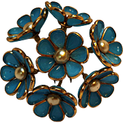 Trifari poured glass flower fur clip blue Alfred Philippe pat 121,222