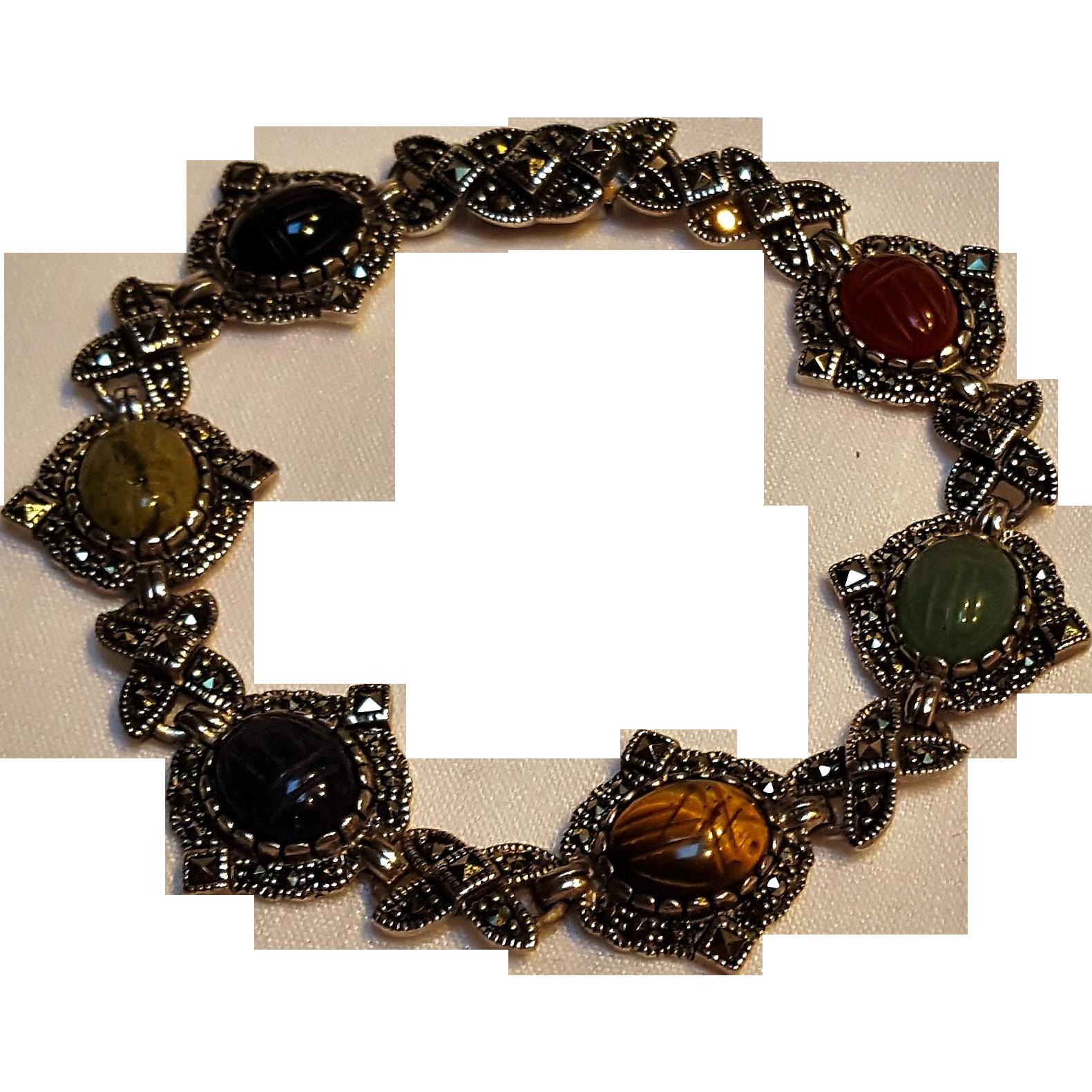 Sterling silver marcasite scarab bracelet multi gemstone