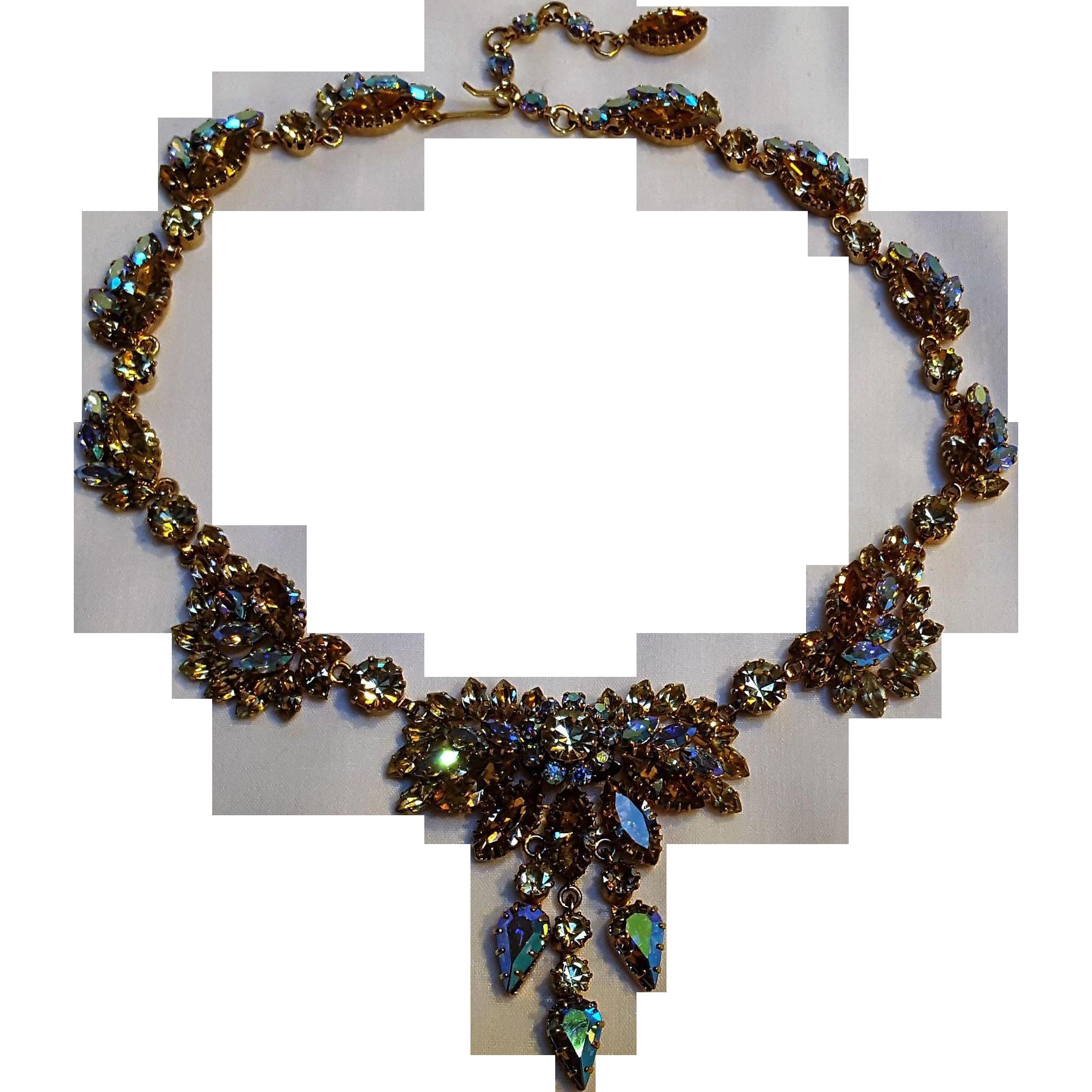 Schoffel Austria rhinestone crystal necklace fall colors