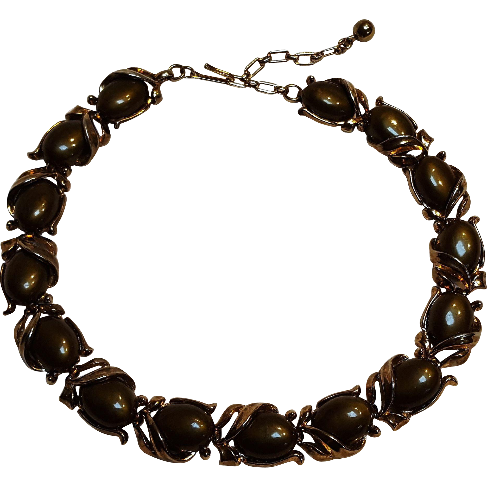 Trifari choker necklace chocolate brown inserts