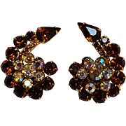 Rhinestone clip earrings aurora borealis topaz brown