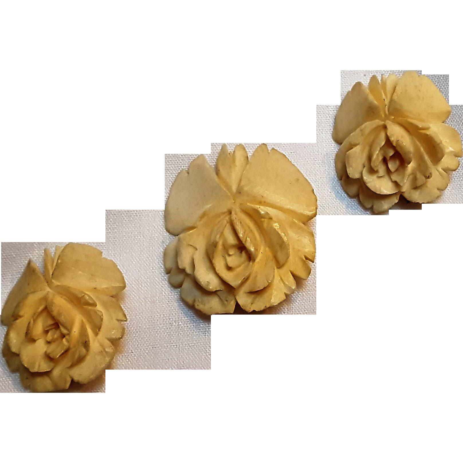 Carved ox bone rose scatter pins set