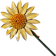 Sandor enamel flower pin yellow