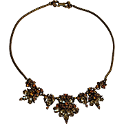 1952 Hollycraft amber rhinestone choker necklace