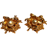 Napier clip Brutalist earrings simulated pearl