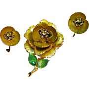 Weiss yellow rose pin earrings rhinestone enamel