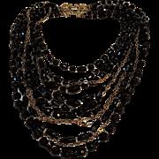 Schiaparelli bead chain bib necklace multi strand
