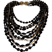 Schiaparelli bead chain bib necklace multi strand