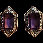 Panetta clip earrings purple stone