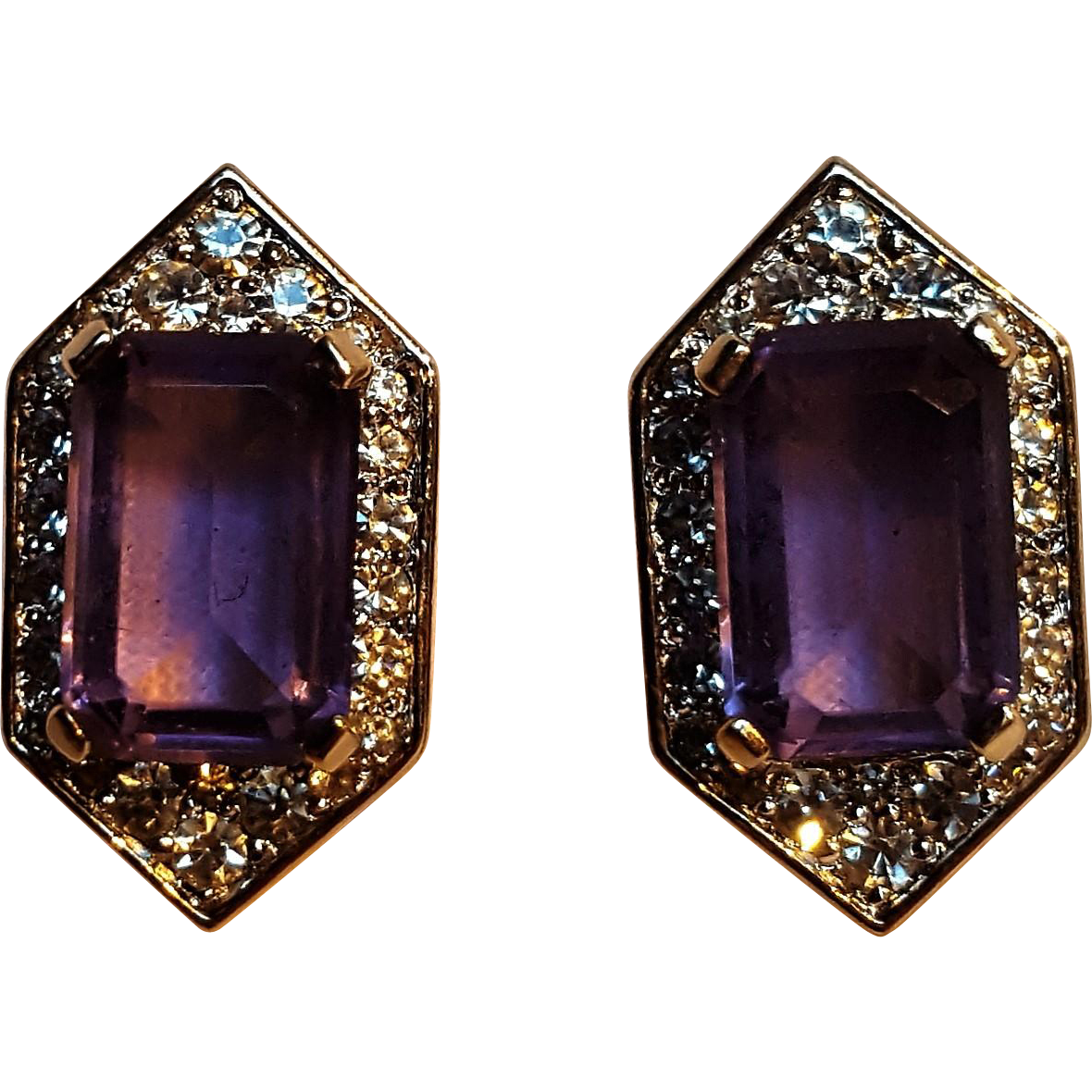 Panetta clip earrings purple stone