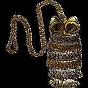 Vintage owl pendant glass eyes