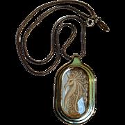 Whiting Davis unicorn glass intaglio pendant necklace