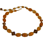 Trifari orange bumpy givre glass bead necklace