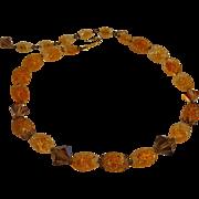 Trifari orange bumpy givre glass bead necklace