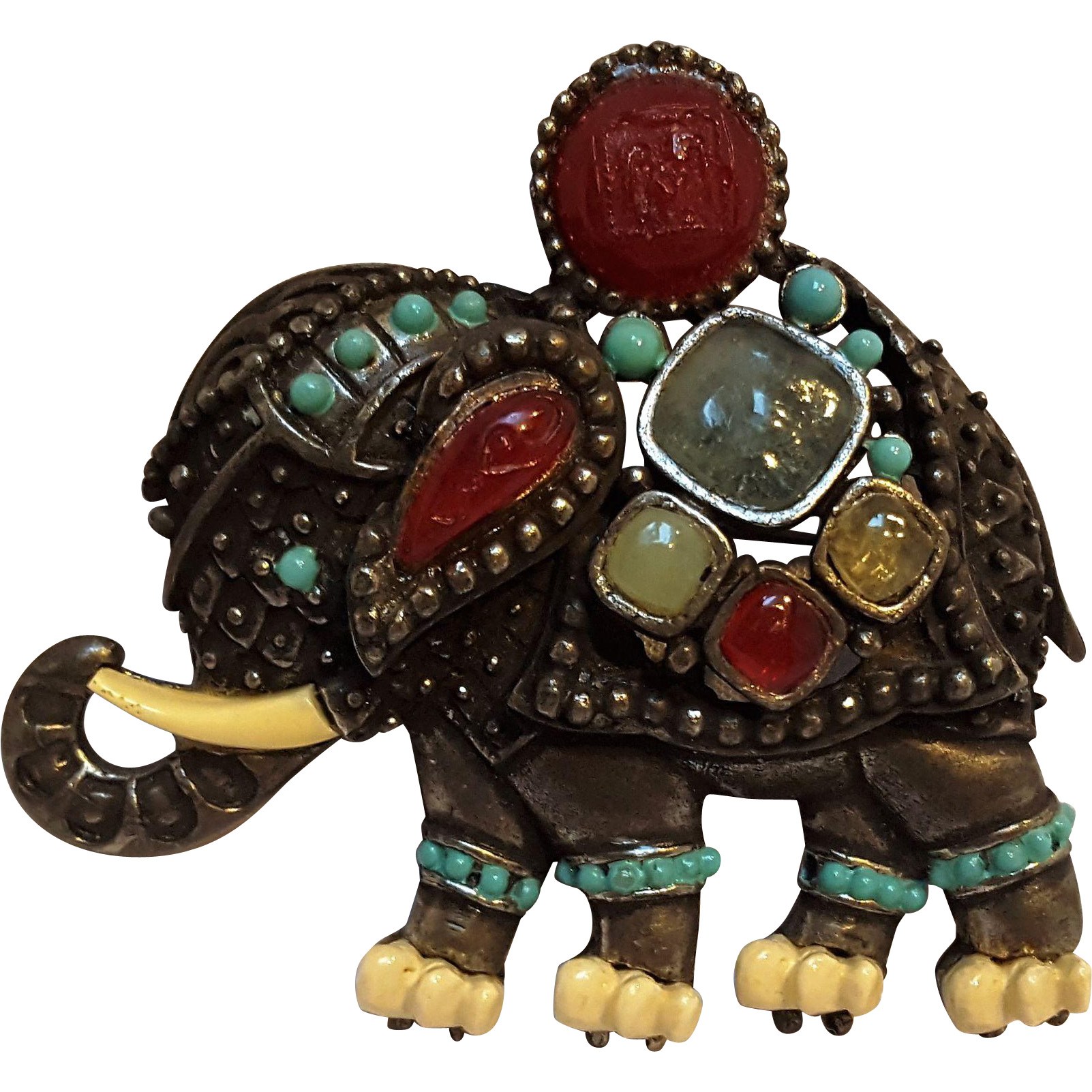 Hattie Carnegie jeweled elephant pin pendant resin stones