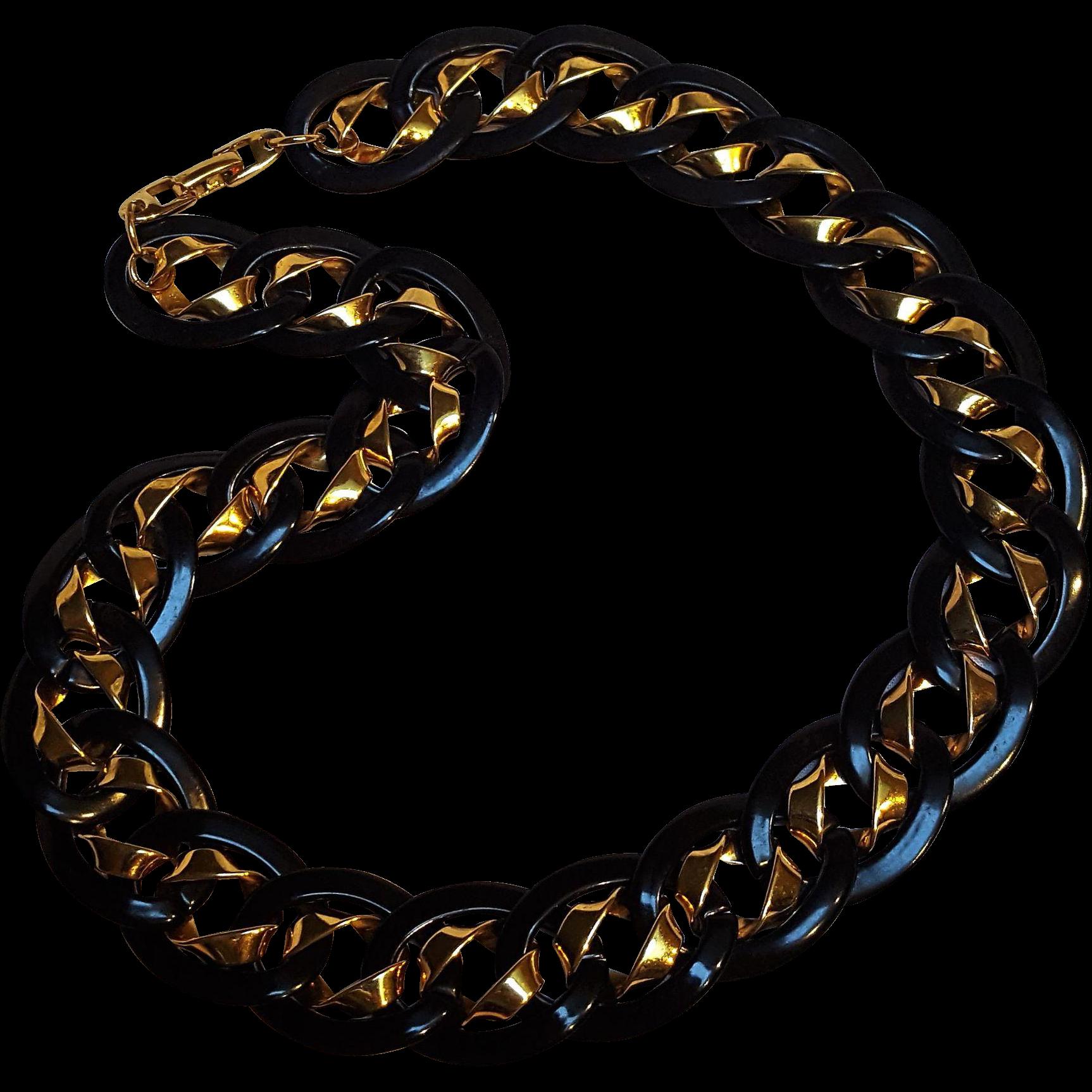 Napier necklace black enamel gold flat chain