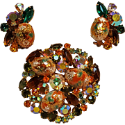 Juliana Easter egg pin and earrings set orange