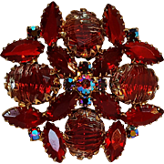 Red rhinestone pin striated givre glass stones