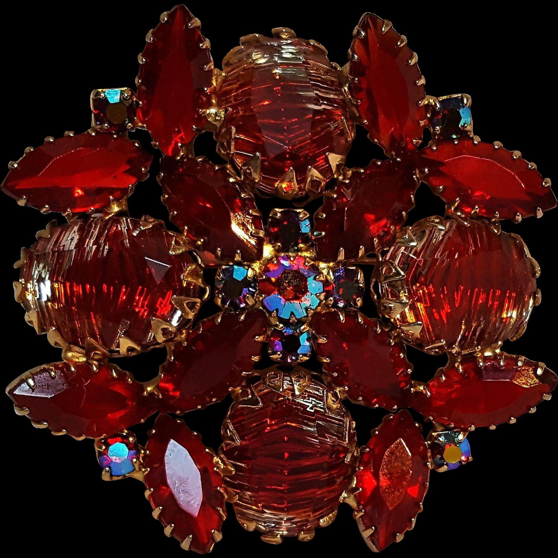 Red rhinestone pin striated givre glass stones