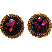 Schiaparelli watermelon rhinestone clip earrings